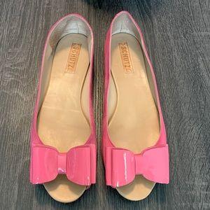 SCHUTZ Pink Suede Bow Flats 10 B